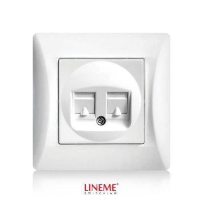 LINEME Πρίζα Διπλή Data RJ45 Hseries Λευκή 50-00130-1