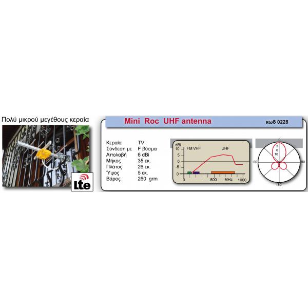 MISTRAL MINI ROC Μικρού μεγέθους κεραία UHF 5dBi 2