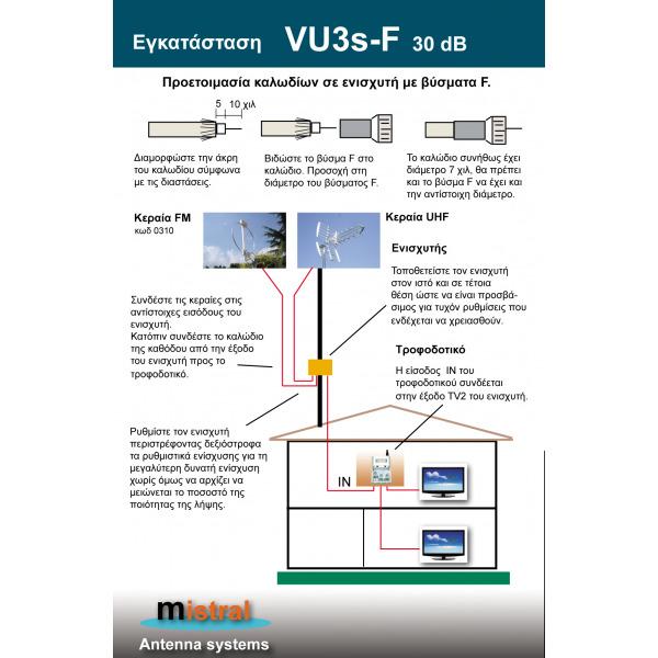 MISTRAL VU3sF30 Ενισχυτής κεραίας 30dB με φίλτρο LTE 1