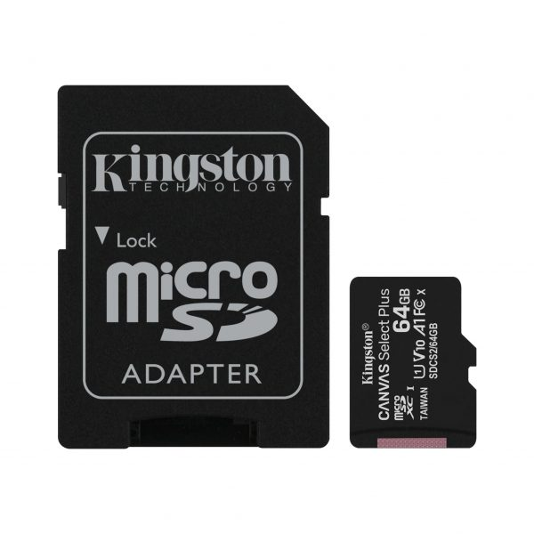 Kingston Κάρτα Μνήμης MicroSDHC 64GB Canvas Select Plus U1 V10 A1 100MB/s (SDCS2/64GB)