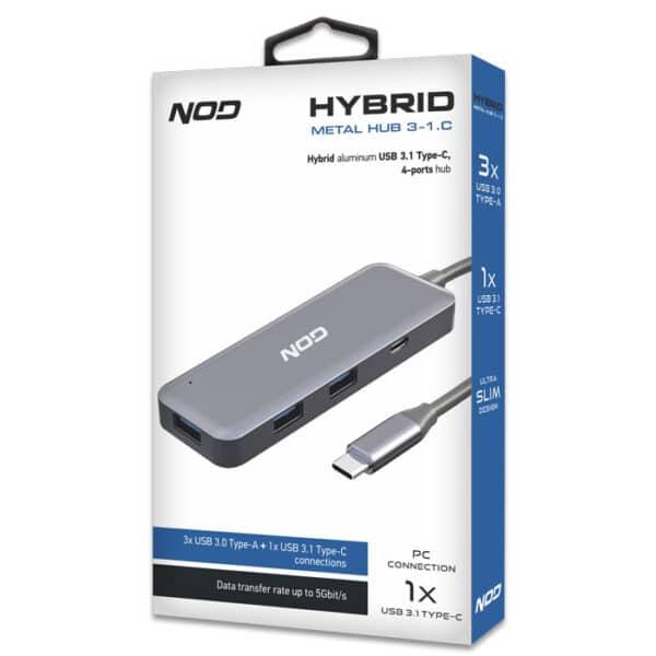 NOD Hybrid USB 3.1 Type-C hub αλουμινίου, 4 θυρών 2