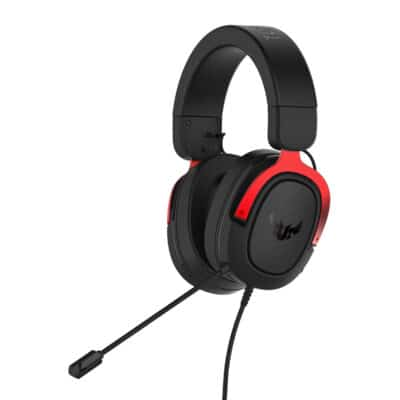 ASUS TUF H3 gaming headset featuring 7.1 surround sound, Red