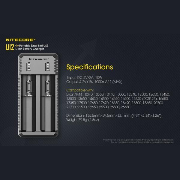 NITECORE UI2 Φορτιστής Μπαταριών Li-ion 2 Θέσεων μέσω USB 12