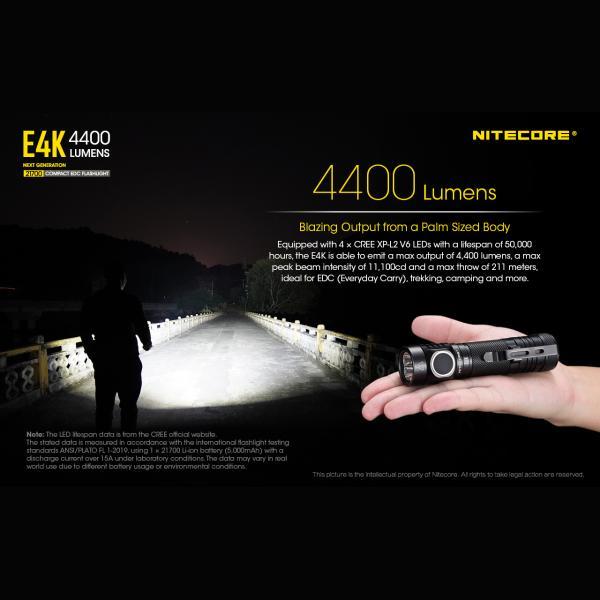 NITECORE E4K Φακός LED 4400lm + NL2150HPR 5000mAh 15A 5