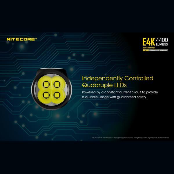 NITECORE E4K Φακός LED 4400lm + NL2150HPR 5000mAh 15A 18