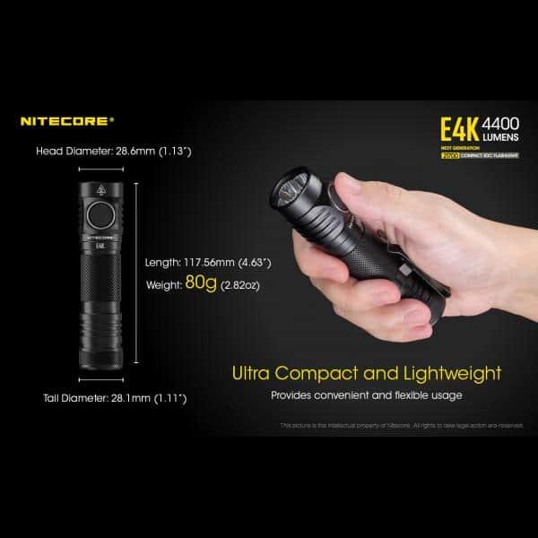 NITECORE E4K Φακός LED 4400lm + NL2150HPR 5000mAh 15A 19