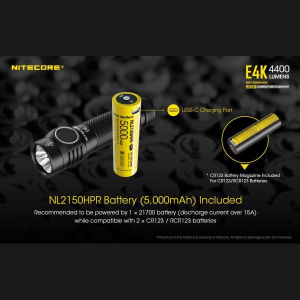 NITECORE E4K Φακός LED 4400lm + NL2150HPR 5000mAh 15A 21