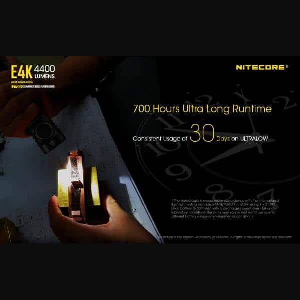 NITECORE E4K Φακός LED 4400lm + NL2150HPR 5000mAh 15A 22