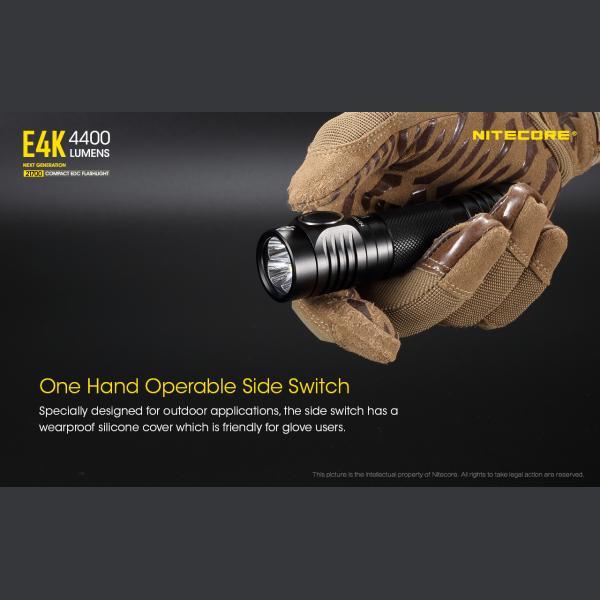 NITECORE E4K Φακός LED 4400lm + NL2150HPR 5000mAh 15A 6