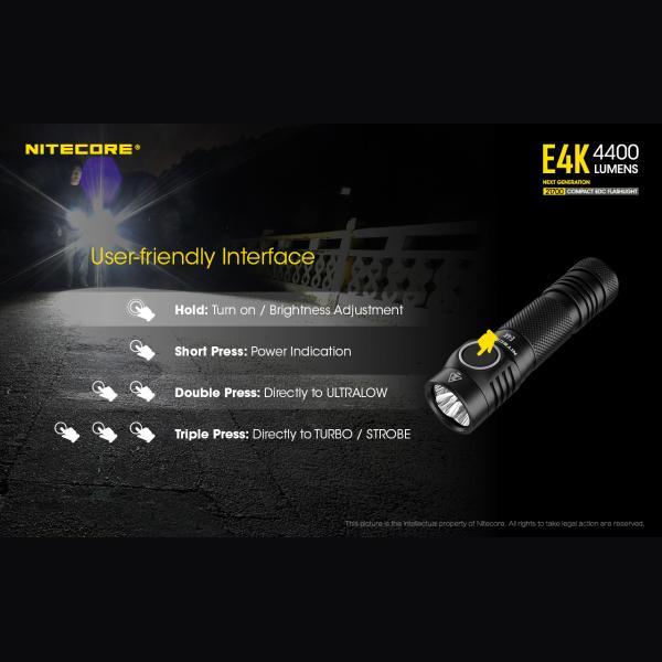NITECORE E4K Φακός LED 4400lm + NL2150HPR 5000mAh 15A 23