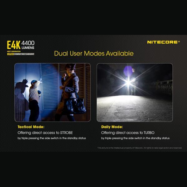 NITECORE E4K Φακός LED 4400lm + NL2150HPR 5000mAh 15A 7