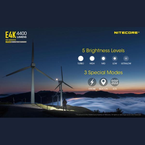 NITECORE E4K Φακός LED 4400lm + NL2150HPR 5000mAh 15A 24