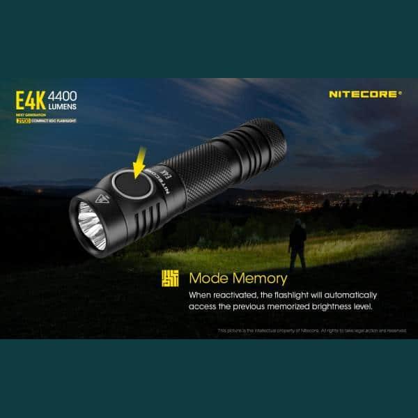 NITECORE E4K Φακός LED 4400lm + NL2150HPR 5000mAh 15A 15
