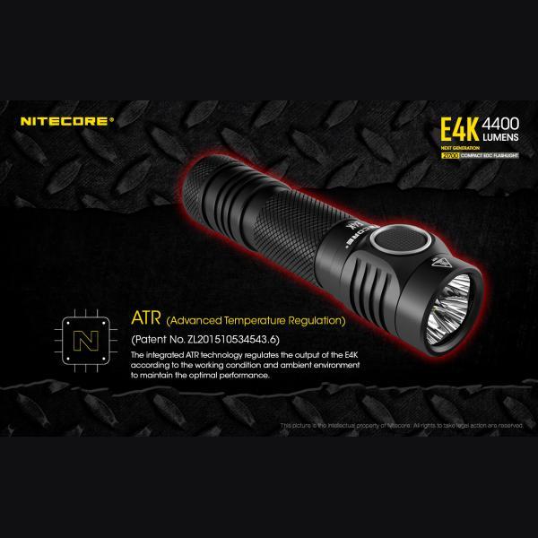 NITECORE E4K Φακός LED 4400lm + NL2150HPR 5000mAh 15A 8