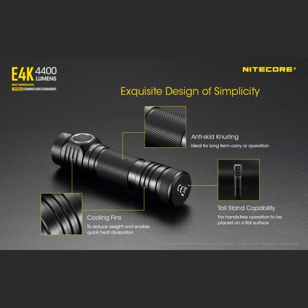 NITECORE E4K Φακός LED 4400lm + NL2150HPR 5000mAh 15A 10
