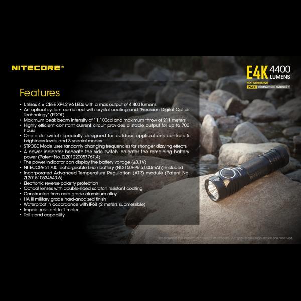 NITECORE E4K Φακός LED 4400lm + NL2150HPR 5000mAh 15A 13
