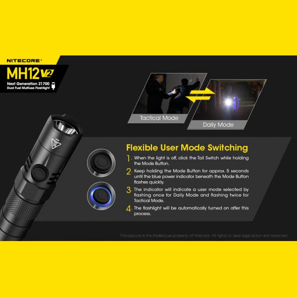 NITECORE MH12 v2 Φακός LED Multi Task Hybrid, 1200lm 9