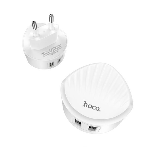 HOCO C67A Shell wall charger dual USB port 2.4A, white