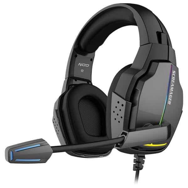 NOD SCREAMAGER Gaming headset με αναδιπλούμενο μικρόφωνο και rainbow RGB LED φωτισμό