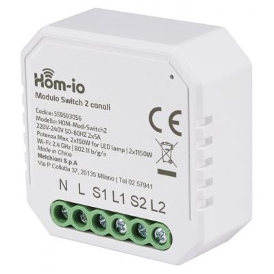 HOM-IO Smart WiFi Διακόπτης 10A 2 Καναλιών (65474)