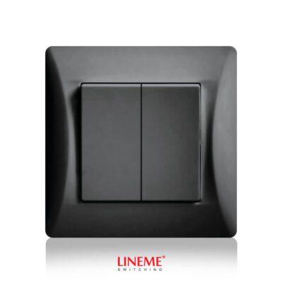 LINEME Διακόπτης Διπλός Απλός Μαύρος (50-00103-2)