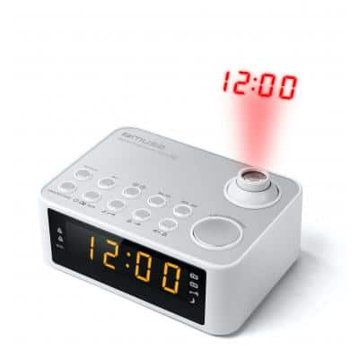 MUSE M-178 PW Projection Clock Radio PLL, White