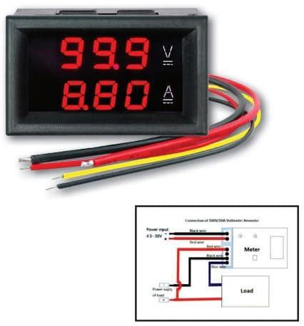VAM-0-100V DC/0-10ADC Ψηφιακό Βολτόμετρο & Αμπερόμετρο με Ενσωματωμένο Shunt