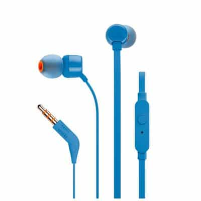 JBL T110 InEar Universal Headphones 1-button Mic/Remote Blue
