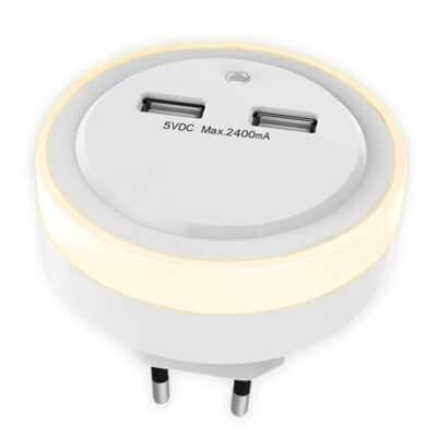 SONORA RING LIGHT USB Φωτάκι νυκτός LED με 2 θύρες φόρτισης USB