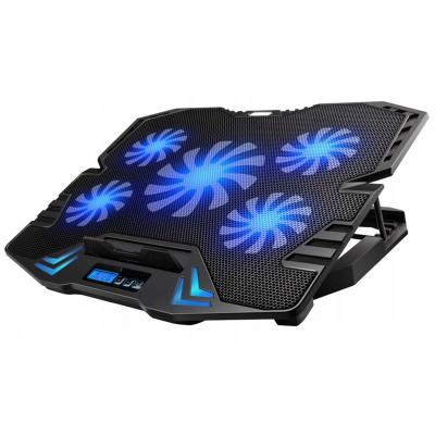 """OMEGA OMNCP5BL Laptop Stand Cooler Pad 9""""-17"""" with Blue Backlight"""