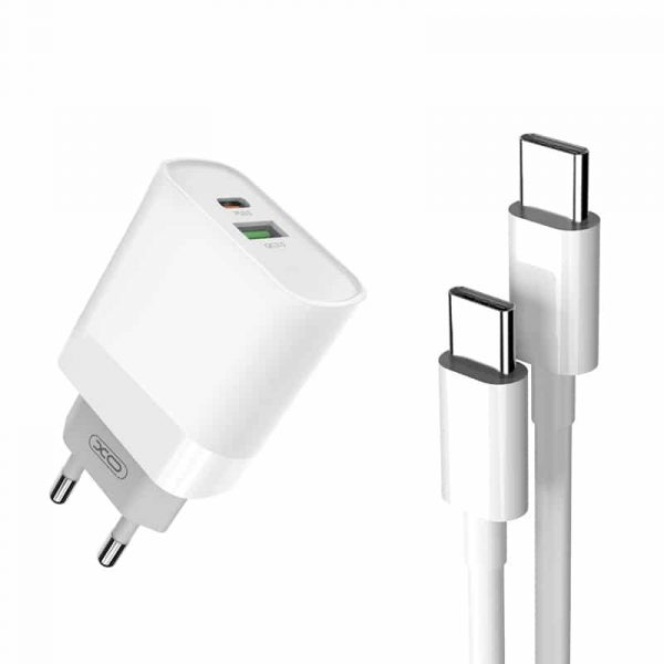 XO Wall charger L64 white 2xUSB QC3.0/PD USB-C 18W with cable type-C - type-C 1m