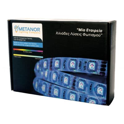 METANOR LED ταινία RGB 12V 9.6W/m IP65 5m με τροφοδοτικό και τηλεχειριστήριο (RGB Box) MTN-2354